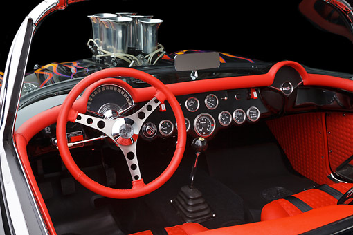 AUT 30 RK6132 01 © Kimball Stock 1956 Corvette Hardtop Gasser Black With Flames Interior Detail In Studio