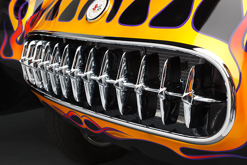 AUT 30 RK6141 01 © Kimball Stock 1956 Corvette Hardtop Gasser Black With Flames Grille Detail In Studio