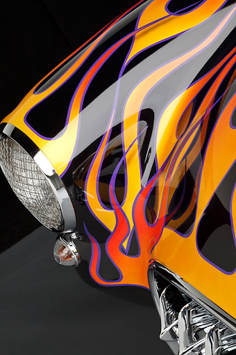 AUT 30 RK6143 01 © Kimball Stock 1956 Corvette Hardtop Gasser Black With Flames Headlight Detail In Studio