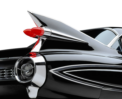 AUT 30 RK6212 01 © Kimball Stock 1959 Black Fleetwood 60 Special Cadillac Rear Tail Fin Detail On White Seamless