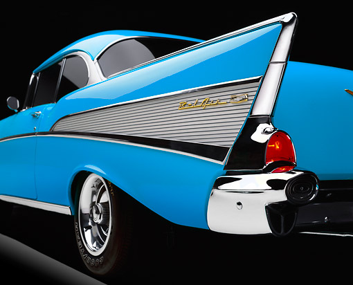AUT 30 RK6213 01 © Kimball Stock 1957 Chevy Bel Air Blue Low Side Rear Tail Fin In Studio