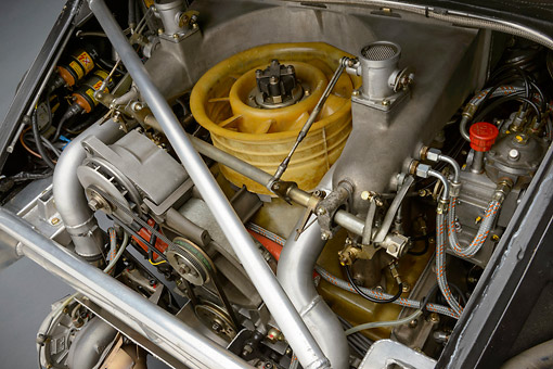 AUT 30 RK6219 01 © Kimball Stock 1979 Porsche 935 K3 Le Mans Winner White Engine Detail In Studio
