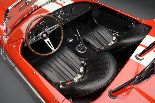 AUT 30 RK6233 01 © Kimball Stock 1966 Shelby AC Cobra Red With White Stripes Interior Detail In Studio