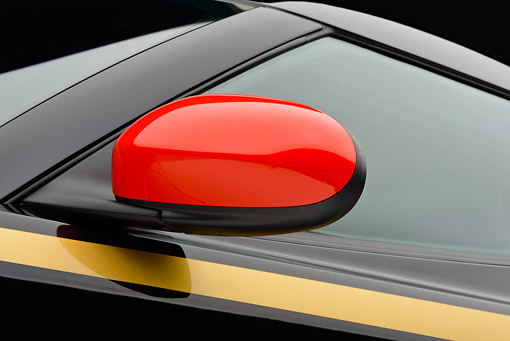 AUT 30 RK6256 01 © Kimball Stock 2012 Lotus Evora S GP Edition Black And Gold Side Mirror Detail In Studio
