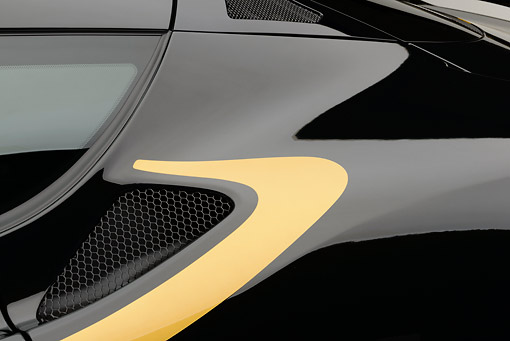 AUT 30 RK6257 01 © Kimball Stock 2012 Lotus Evora S GP Edition Black And Gold Side Detail In Studio
