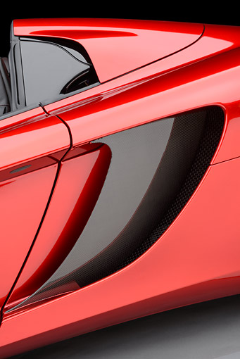 AUT 30 RK6268 01 © Kimball Stock 2013 McLaren MP4-12C Spider Red Side Detail In Studio