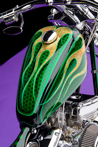 AUT 30 RK6273 01 © Kimball Stock 2005 Executive Choppers Special Construction Black And Green Front Detail In Studio