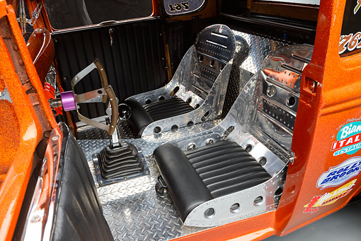 AUT 30 RK6278 01 © Kimball Stock 1931 Ford Model A Orange Interior Detail