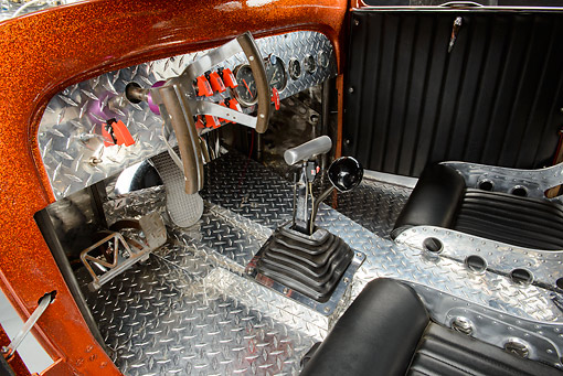 AUT 30 RK6279 01 © Kimball Stock 1931 Ford Model A Orange Interior Detail
