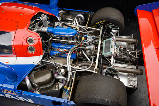 AUT 30 RK6291 01 © Kimball Stock 1992 Nissan GTP ZX-Turbo Race Car Blue And Red Engine Detail In Studio
