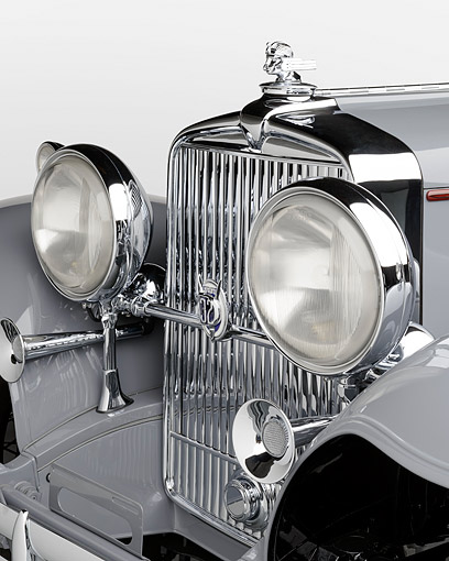 AUT 30 RK6302 01 © Kimball Stock 1932 Stutz DV-32 Rollston Victoria Gray Headlight Detail In Studio