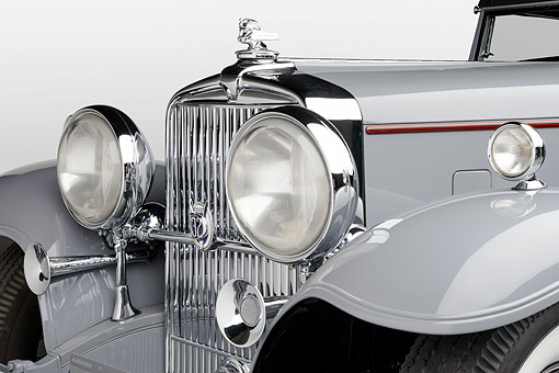 AUT 30 RK6303 01 © Kimball Stock 1932 Stutz DV-32 Rollston Victoria Gray Headlight Detail In Studio