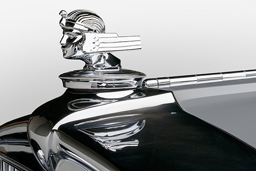 AUT 30 RK6306 01 © Kimball Stock 1932 Stutz DV-32 Rollston Victoria Gray Hood Ornament Detail In Studio