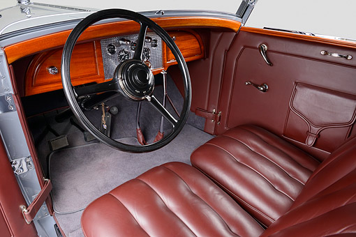 AUT 30 RK6312 01 © Kimball Stock 1932 Stutz DV-32 Rollston Victoria Gray Interior Detail In Studio