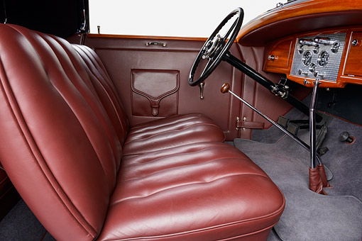 AUT 30 RK6314 01 © Kimball Stock 1932 Stutz DV-32 Rollston Victoria Gray Interior Detail In Studio