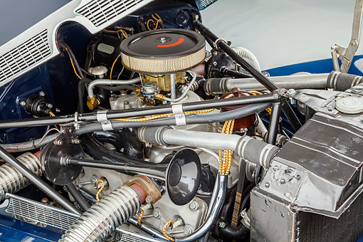 AUT 30 RK6329 01 © Kimball Stock 1937 Cord Supercharged 812 Phaeton Blue Engine Detail In Studio