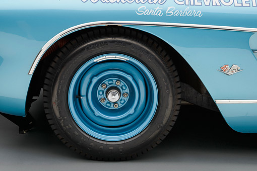 AUT 30 RK6337 01 © Kimball Stock 1959 Chevrolet Corvette Race Car Blue Front Wheel Detail In Studio