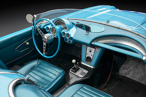 AUT 30 RK6340 01 © Kimball Stock 1959 Chevrolet Corvette Race Car Blue Interior Detail In Studio