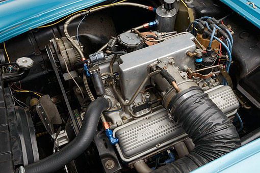 AUT 30 RK6341 01 © Kimball Stock 1959 Chevrolet Corvette Race Car Blue Engine Detail In Studio