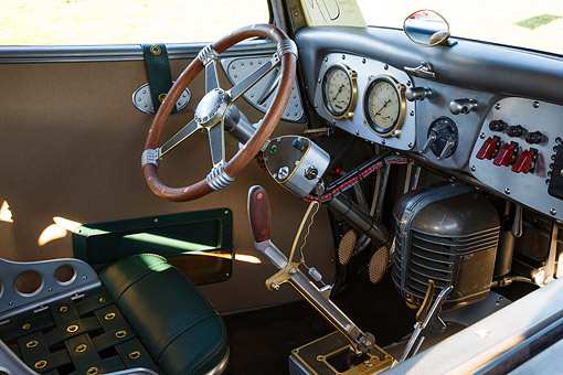 AUT 30 RK6350 01 © Kimball Stock 1933 Moal Falcon Hot Rod Silver Interior Detail