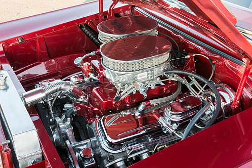 AUT 30 RK6357 01 © Kimball Stock 1957 Chevrolet Bel Air Maroon Candy Engine Detail