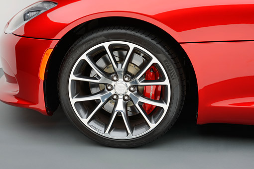 AUT 30 RK6365 01 © Kimball Stock 2014 SRT Viper GTS Red Front Wheel Detail On White Seamless