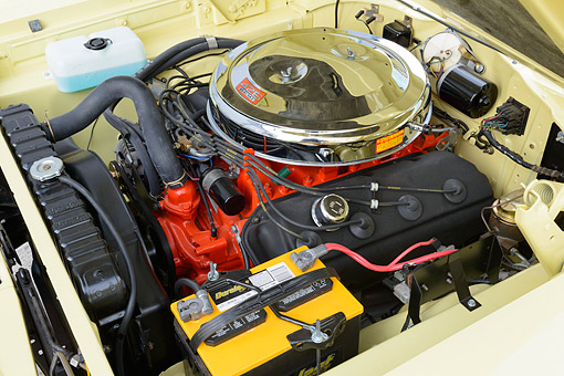 AUT 30 RK6371 01 © Kimball Stock 1966 Plymouth Hemi Satellite Yellow Engine Detail