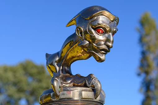 AUT 30 RK6387 01 © Kimball Stock 1919 La Bestioni Beast Yellow Hood Ornament Detail