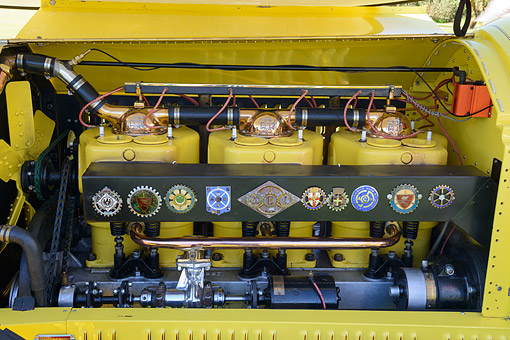 AUT 30 RK6388 01 © Kimball Stock 1919 La Bestioni Beast Yellow Engine Detail