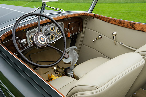 AUT 30 RK6405 01 © Kimball Stock 1934 Packard 1108 Twelve Dietrich Convertible Victoria Gray Interior Detail Pebble Beach