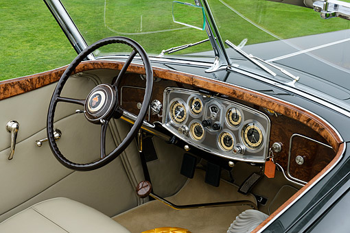 AUT 30 RK6406 01 © Kimball Stock 1934 Packard 1108 Twelve Dietrich Convertible Victoria Gray Interior Detail Pebble Beach