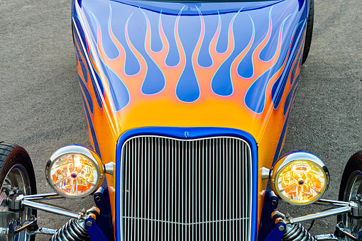 AUT 30 RK6423 01 © Kimball Stock 1933 Ford Alloway Roadster Blue With Flames Headlight Detail