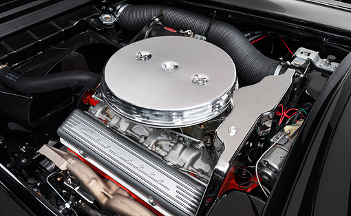 AUT 30 RK6463 01 © Kimball Stock 1959 Chevrolet Corvette C1 Solid-Axle Black Engine Detail
