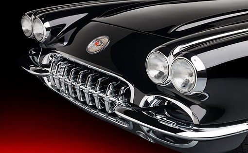 AUT 30 RK6464 01 © Kimball Stock 1959 Chevrolet Corvette C1 Solid-Axle Black Front Detail