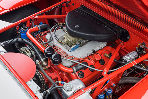 AUT 30 RK6468 01 © Kimball Stock 1969 Dodge Charger Daytona 426ci L Hemi NASCAR Racing Engine Detail