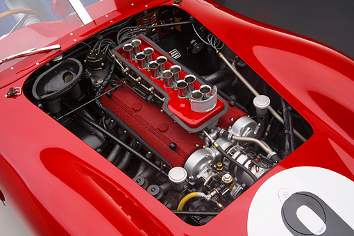 AUT 30 RK6483 01 © Kimball Stock 1959 Ferrari Testarossa 250 TR59 Spider Red Engine Detail