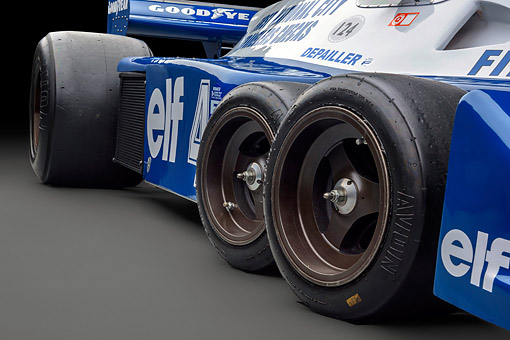 AUT 30 RK6513 01 © Kimball Stock 1976 Tyrrell P34 Formula One Race Car Blue Tire Detail