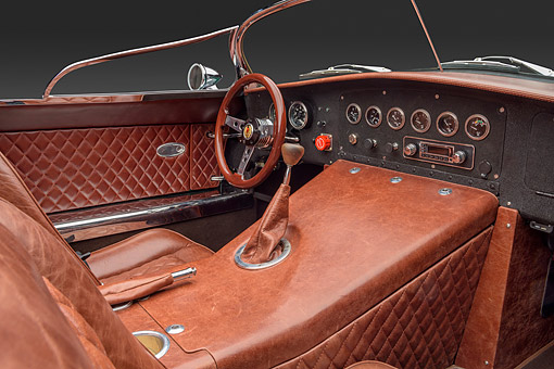AUT 30 RK6538 01 © Kimball Stock 2016 Daedalus Custom Roadster Green Interior Detail