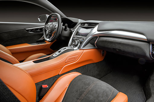 AUT 30 RK6541 01 © Kimball Stock 2017 Acura NSX Hybrid Supercar Red Interior Detail