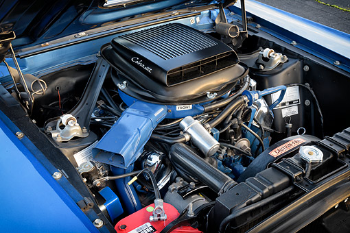 AUT 30 RK6547 01 © Kimball Stock 1969 Ford Mustang Mach I Cobra Jet 428 Engine Detail