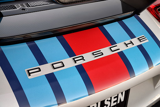 AUT 30 RK6551 01 © Kimball Stock 2015 Porsche 918 Martini Weissach Edition Hybrid Supercar Rear Detail
