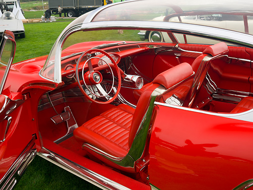 AUT 30 BK0003 01 © Kimball Stock 1956 XP-301 Buick Centurion Coupe Red And White Concept Interior Detail