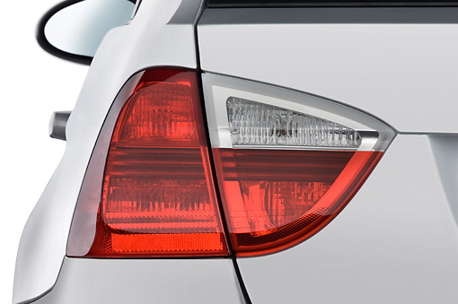 AUT 30 IZ0019 01 © Kimball Stock 2011 BMW 3 Series Station Wagon Silver Brake Light Detail Studio
