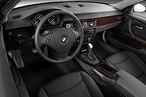 AUT 30 IZ0022 01 © Kimball Stock 2011 BMW 3 Series Station Wagon Silver Interior Detail Studio