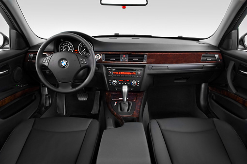 AUT 30 IZ0023 01 © Kimball Stock 2011 BMW 3 Series Station Wagon Silver Interior Detail Studio