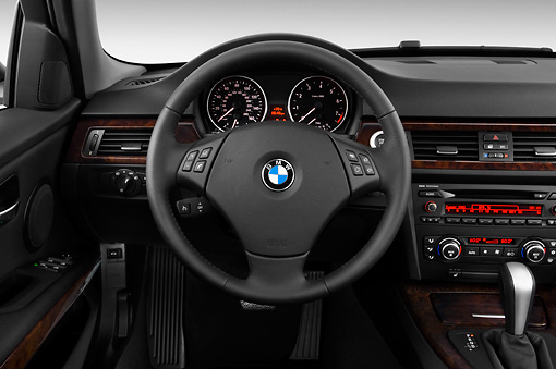 AUT 30 IZ0024 01 © Kimball Stock 2011 BMW 3 Series Station Wagon Silver Interior Detail Studio