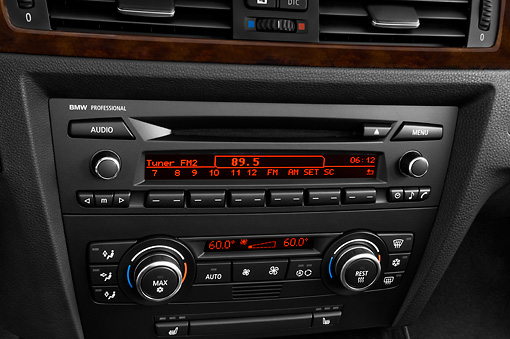 AUT 30 IZ0026 01 © Kimball Stock 2011 BMW 3 Series Station Wagon Silver Interior Detail Studio