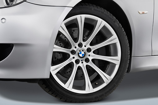 AUT 30 IZ0033 01 © Kimball Stock 2010 BMW M5 Silver Front Wheel Detail Studio