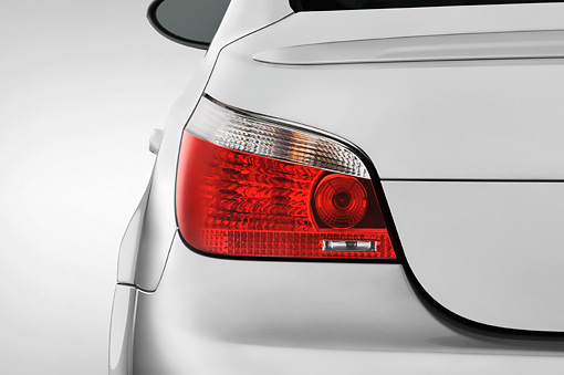 AUT 30 IZ0034 01 © Kimball Stock 2010 BMW M5 Silver Brake Light Detail Studio