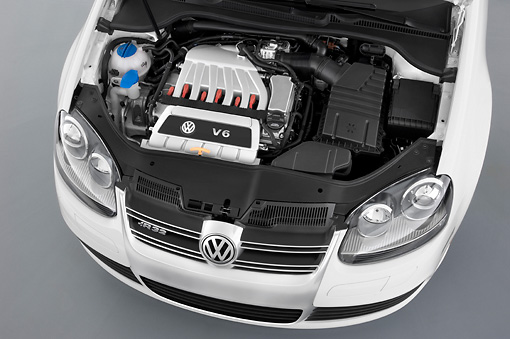 AUT 30 IZ0076 01 © Kimball Stock 2008 Volkswagen R32 White Engine Detail Studio